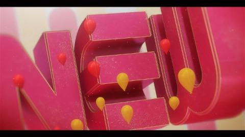 红色喜庆的新年快乐3D文字开场片头动画